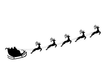 Santa claus flies with gifts on a sleigh in a reindeer sled for christmas and new year. Vector illustration for the holiday