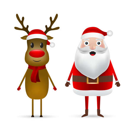 Christmas Santa claus and reindeer close up on a white background. Vector illustration for a festive design Ilustrace