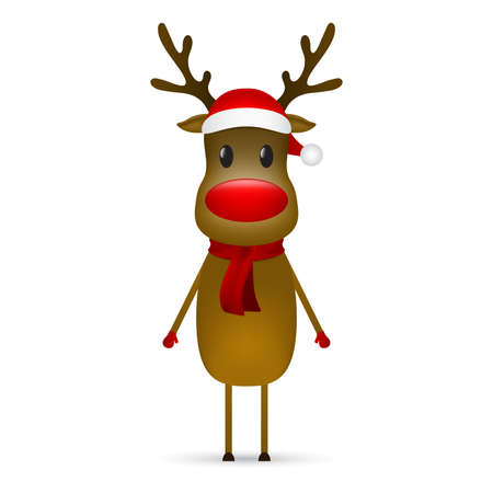 Christmas reindeer with a scarf and a santa claus hat stands on a white background. Vector illustration for a festive design Ilustrace