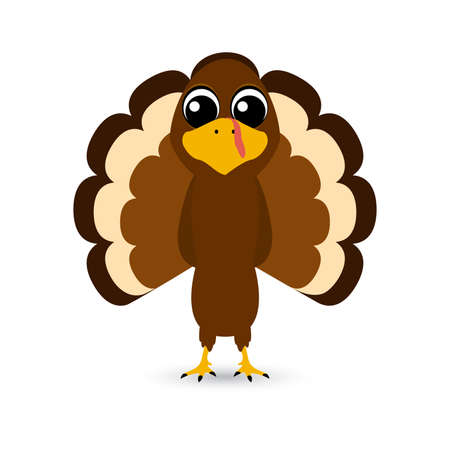 Thanksgiving cartoon turkey stands on a white background. Vector illustration for the holiday