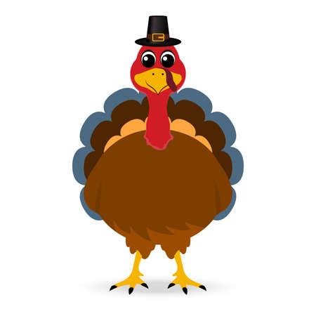 Thanksgiving cartoon turkey stands on a white background. Vector illustration for the holiday Ilustrace