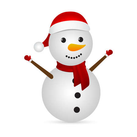 Christmas snowman in a santa hat on a white background. Vector illustration for the holiday Çizim