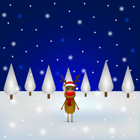 Christmas reindeer with a scarf and a santa claus hat standing in the forest. Vector illustration for a festive design Ilustrace