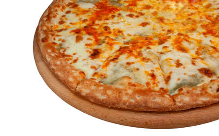 Four cheese pizza on a white background
