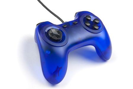 gamepads: Blue joystick isolated on white