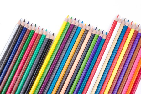 Color pencils  on a white background photo