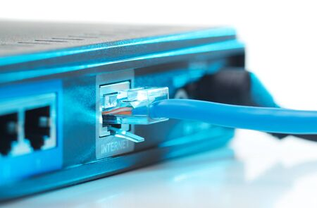 Internet router with blue light photo
