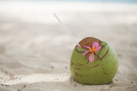 Fresh coconut on the beach Banco de Imagens
