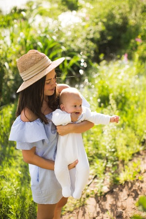 Young mother with newborn baby 写真素材