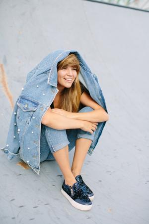 Happy girl smiling Banco de Imagens