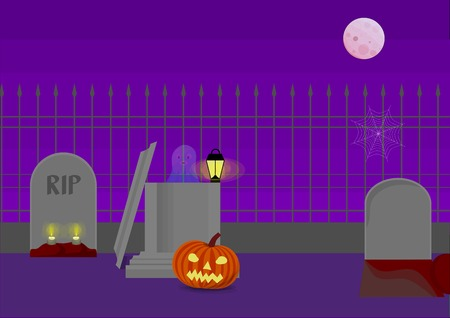 Halloween Graveyard Illustration