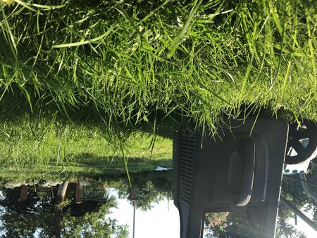 Lawn mower on unplouged lawn, shot tank for tilled grass