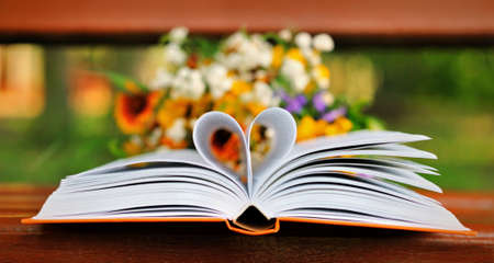 book pages: Book with heart shape pages
