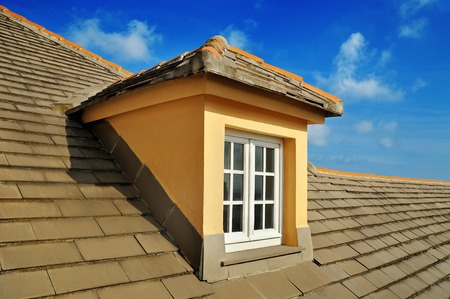roofing: attic, roof Window Stock Photo