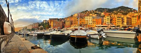 fishing boats: Panoramic view of the port in the evening Camogli