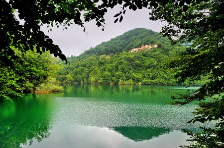 idyll: Mountains with Lake Brugneto Park Antola, Liguria, Italy