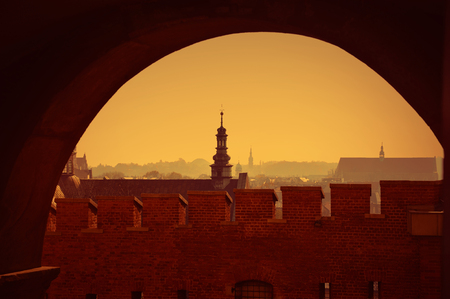 mystique: view of Krakow at sunset with silhouettes of buildings