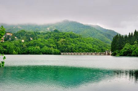 dam: Lake Brugneto with dam in Park Antola Liguria Italy Stock Photo