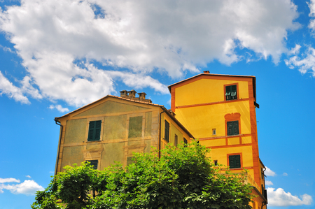 old houses: Old houses with cloudly sky