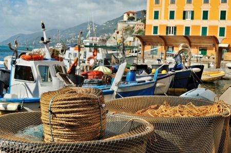 sea port: view of the sea port Camogli with boats and fishing tackles rope Stock Photo