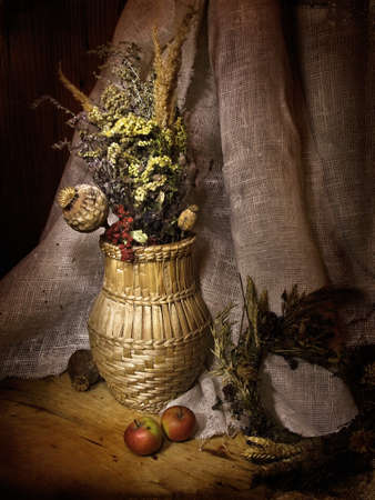 everlasting: retro style still-life with everlasting herbs in braided pitcher