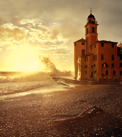 big waves: Big waves at sunset on the seafront Camogli Stock Photo