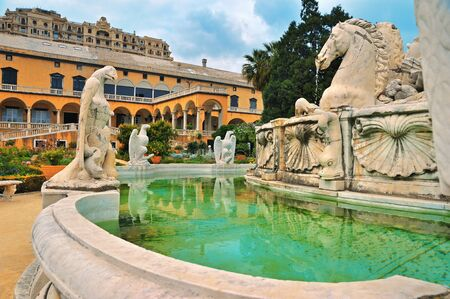 sculptures: Fragment of fountain palazzo del principe with marble sculptures
