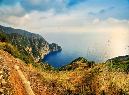regional: panoramic view of autumn Portofino Regional Nature Park in Italy