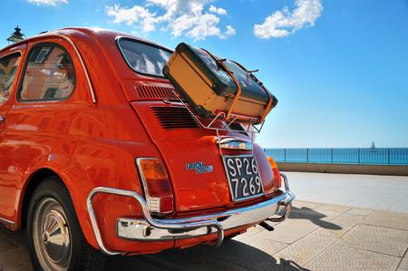Camogli, Liguria, Italy - September 20, 2015: Festival Fiat 500 Rally organizers the Fiat 500 Club Genova Levante Italy.