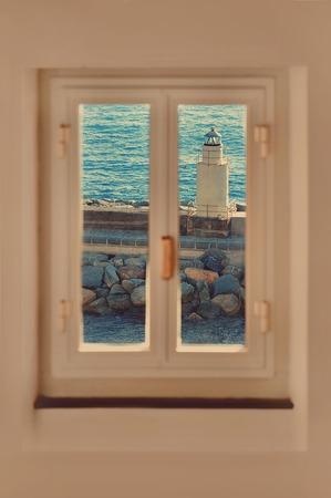 through window: Beautiful lighthouse view through window sea illustration
