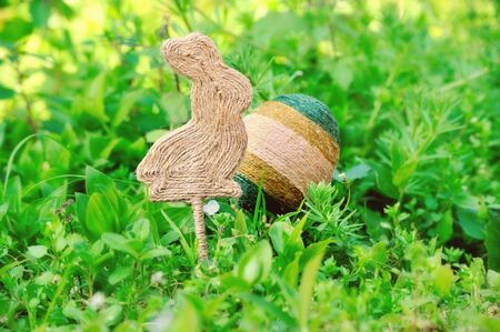 personally: Handmade Easter composition in ecological style in the green grass