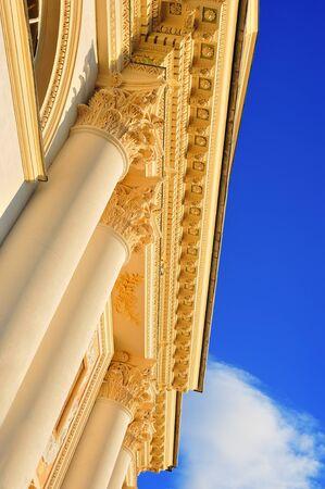corinthian column: architecture detail of  corinthian column with blue sky