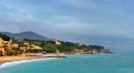 colorfull: picturesque bay celle ligure with colorfull  buildings and blue sky