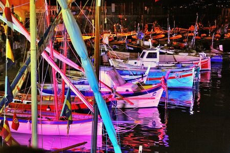 illuminations: festive illuminations in port Camogli, Italy