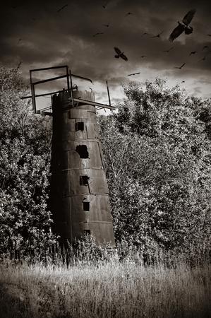 mysticism: black white mysticism rusty water tower