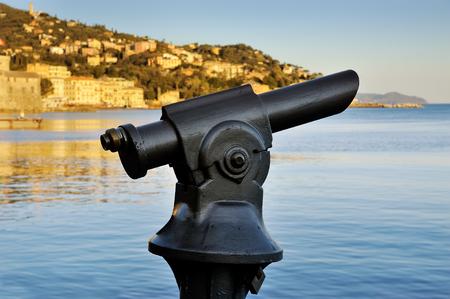 monocular: Coin operated monocular telescope at Italian Riviera