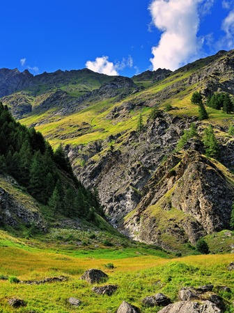 rocks of alpien mountains of Gran Paradiso National Park Stock Photo