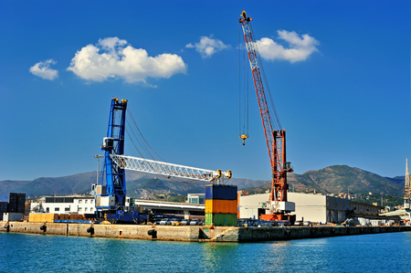 commerce and industry: container terminal cranes and forklifts in Genova port