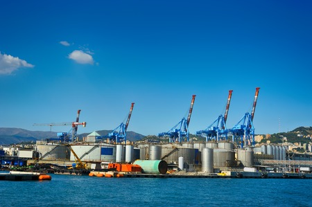 forklifts: terminal cranes and forklifts in Genova port, Italy