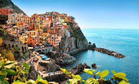 Colorfull Manarolla in Cinque Terre, Italy Europe Stock Photo