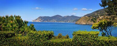 beautiful panoramix seascape on coast of mediterranean sea