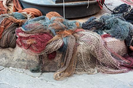Fishing nets, fishing tackle in italian town Camogli, Liguria