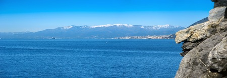 Beautiful views from the mountains of Liguria in winter days with an blue sky from the sea