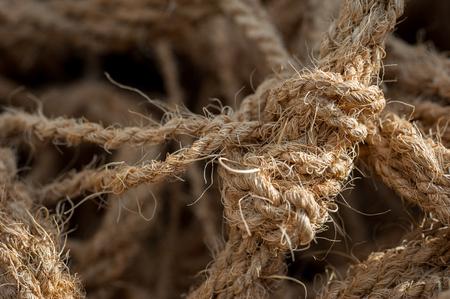 Coarse coconut rope closeup macro background Stock Photo