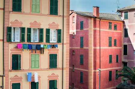 Colorful traditional houses in the Old Town Camogli, Genoa, Italy
