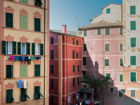 colorful old buildings and architecture in small village Camogli in Liguria, north Italy