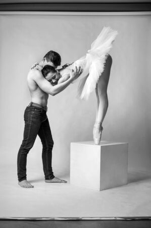 Ballet couple into love relations. Ballet dancers falling in love.
