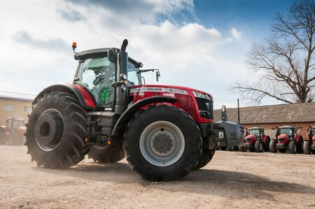 Smykivtsi, Ternopil region, Ukraine - March 29, 2019: Presentation of new machinery for the Continental agricultural cluster. Tractors and sprayers. Agrarians are preparing for the start of the season.