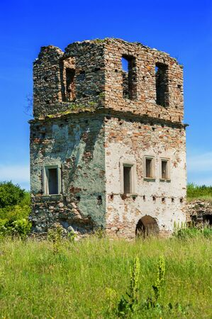 Pidhiryan Monastery, The ruins of one of the towers beginning of the 18th c. Ukraine, Podgora village, Ternopil region, Terebovlya district.