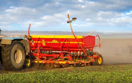 a seeder sowing in a field a cloud of dust. Agricultural tillage, land preparation for sowing